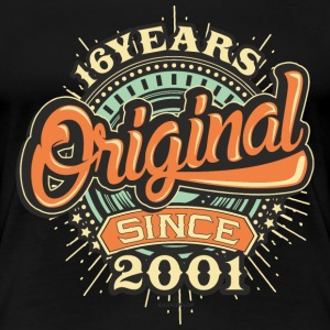 16 Years Original since 2001 - RAHMENLOS Birthday Shirt Design T-Shirts - Frauen Premium T-Shirt