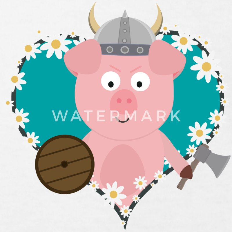 Viking pigs in flower heart Shirts - Kids' Organic T-shirt
