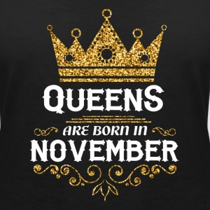 Queens are born in November T-Shirts - Women's V-Neck T-Shirt