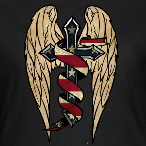 USA cross  wings  ribbon T-Shirts - Frauen T-Shirt