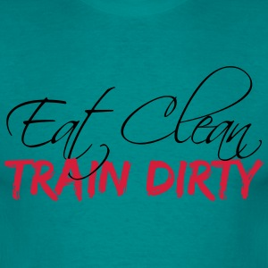 Train design eat clean train dirty text logo T-Shirts - Men's T-Shirt