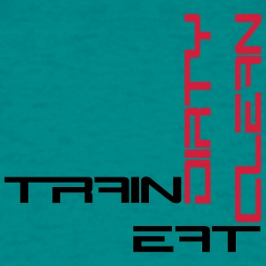 Spine eat clean cool text logo design train dirty  T-Shirts - Men's T-Shirt