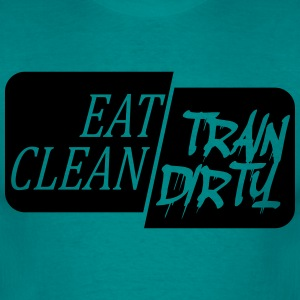 Black design eat clean train dirty text logo T-Shirts - Men's T-Shirt