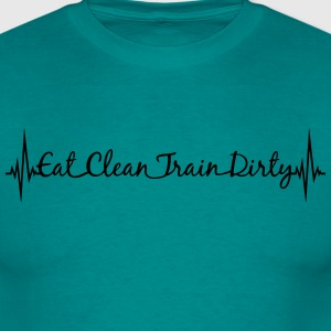 Pulse frequency heart stroke black train dirty tex T-Shirts - Men's T-Shirt