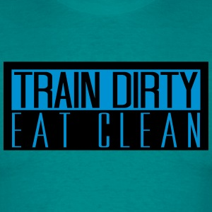 logo eat clean train dirty gewichtheben logo cool  T-Shirts - Männer T-Shirt