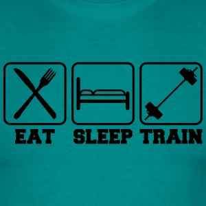 Eat sleep train logo stamp button weight spoof coo T-Shirts - Men's T-Shirt