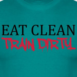 eat clean train dirty text logo sterne cool stempe T-Shirts - Männer T-Shirt
