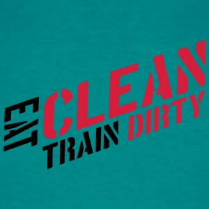 Eat clean text healthy train logo stamp weights sp T-Shirts - Men's T-Shirt