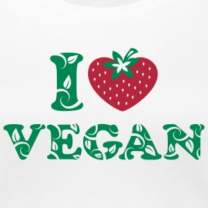 I love vegan, heart, vegetarian, strawberry, like, T-shirts - Vrouwen Premium T-shirt