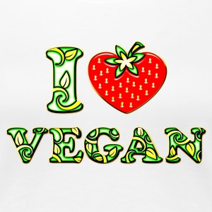 I love vegan, heart, vegetarian, strawberry, like, T-shirts - Dame premium T-shirt