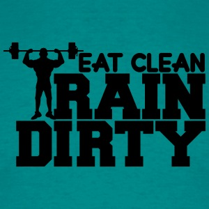 Eat clean keep train dirty text logo cool stamp co T-Shirts - Men's T-Shirt