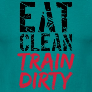 Cool stamp color text weight lifting clean eat mus T-Shirts - Men's T-Shirt