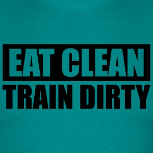 Cool design eat clean train dirty text logo T-Shirts - Men's T-Shirt