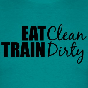 Clean eat text muscle strong weight lifting dumbbe T-Shirts - Men's T-Shirt