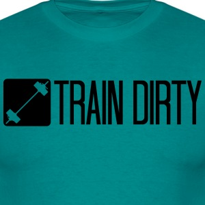 Button healthy train logo stamp weight spell cool  T-Shirts - Men's T-Shirt