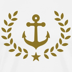 Anchor, laurel wreath, harbor, sailing, regatta T- - Men's Premium T-Shirt