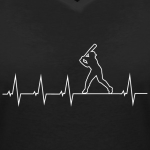 I love baseball - heartbeat T-Shirts - Women's V-Neck T-Shirt