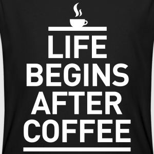 life begins after coffee Kaffee Espresso Leben T-shirts - Mannen Bio-T-shirt