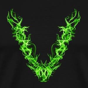 V, flame art, vegan green, love nature, save earth - Men's Premium T-Shirt