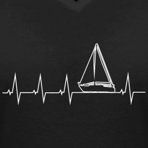 I love sailing - heartbeat T-Shirts - Women's V-Neck T-Shirt