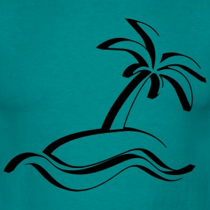 Island palm sea vacation 3d T-Shirts - Men's T-Shirt