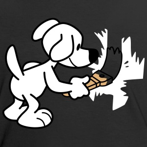 Painting Cartoon Dog by Cheerful Madness!! T-Shirts - Women's Ringer T-Shirt