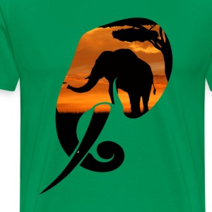 Elephant Safari Scene Head T-Shirts - Men's Premium T-Shirt