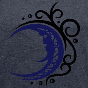 Mond mit Tribal, moon with Tribal T-Shirts - Women's T-shirt with rolled up sleeves