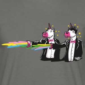 Gris graphite unicorns & rainbows Tee shirts - T-shirt Homme