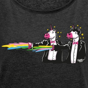 Heather Black unicorns & rainbows T-Shirts - Women's T-shirt with rolled up sleeves