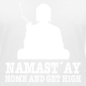Namast´ay Home and Get High T-Shirts - Frauen T-Shirt mit V-Ausschnitt