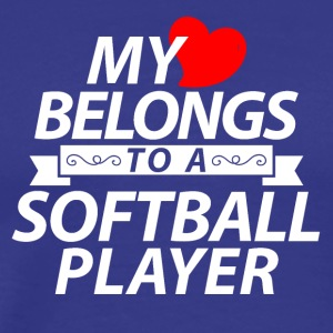 My heart belongs to a softball player - Männer Premium T-Shirt