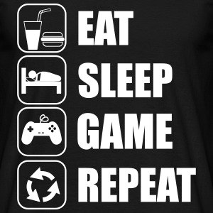 Eat,sleep,game,repeat , geek , gamer , Nörd - T-shirt herr