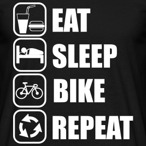 Eat,sleep,bike,repeat, Cykel t-shirt  - T-shirt herr