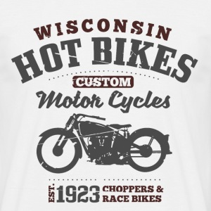 Wisconsin Hot Bikes Custom Motor Cycles T-Shirts - Maglietta da uomo