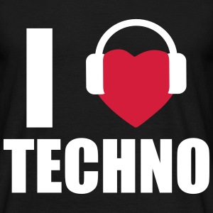 I love techno, Dj, Rave, Clubbing  - Men's T-Shirt