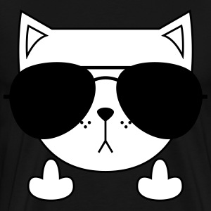 Cute Cat Icon | Sunglasses | Middle Finger T-shirts - Mannen Premium T-shirt