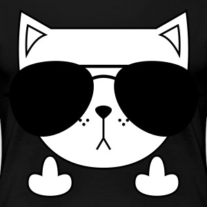 Cute Cat Icon | Sunglasses | Middle Finger Koszulki - Koszulka damska Premium