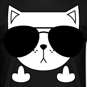 Cute Cat Icon | Sunglasses | Middle Finger T-shirts - Herre-T-shirt