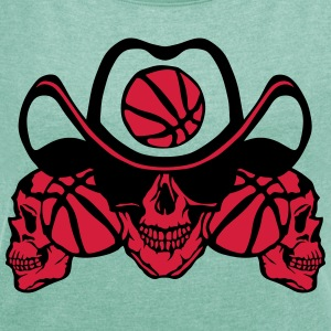 Basketball skull sign chain T-Shirts - Women's T-shirt with rolled up sleeves