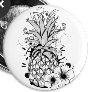 Pineapple with hibiscus blossom Buttons - Buttons medium 32 mm