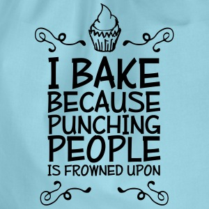 i bake because punching people i Bags & Backpacks - Drawstring Bag