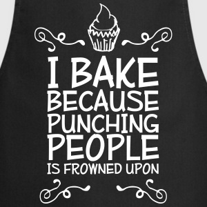 i bake because punching people i Fartuchy - Fartuch kuchenny