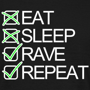 Eat Sleep Rave Repeat Shuffel Techno Festivals T-Shirts - Männer T-Shirt