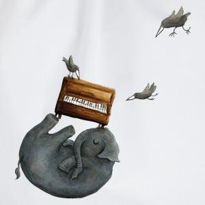 Ein Elefant mit Piano