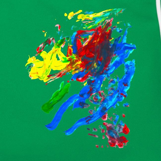 Klaras Fingermalerei auf blauer Tasche