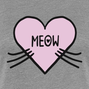 Meow heart, cat, cats, kitty, pet, cute, I love T-Shirts - Women's Premium T-Shirt