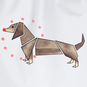 Origami dachshund Bags & Backpacks - Drawstring Bag