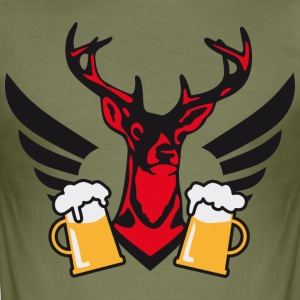 Wiesn Hirsch Mass Bier Deer Beer Geweih T-Shirt - Männer Slim Fit T-Shirt