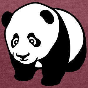 Panda cub profile T-Shirts - Women's T-shirt with rolled up sleeves